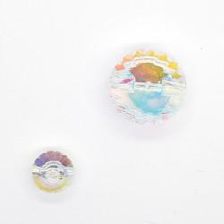 Botón chic de piedra cristal redonda irisado.