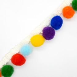 Fleco madroño multicolor de 2 cms. Cinta suave y blanda para embellecer tus prendas y complementos.
