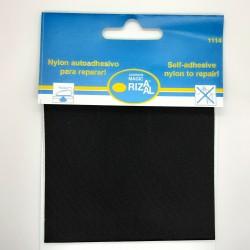 Tejido reparador autoadhesivo Rizaal de color negro. Especial para prendas finas de nylon como paraguas, chubasqueros,..