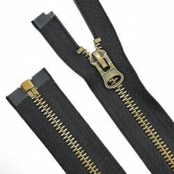 Cremallera malla 8 oro viejo metálica de color negra 70 cms. Para chaquetas, cazadoras, piel, cuero, moteras,.. Alta calidad.