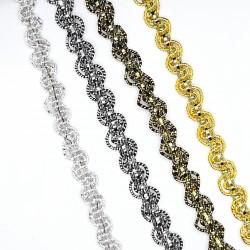 Galón pasamanería de color metalizada con ondas decorativas de 8 mm. Adorno elegante deluxe para prendas y complementos.
