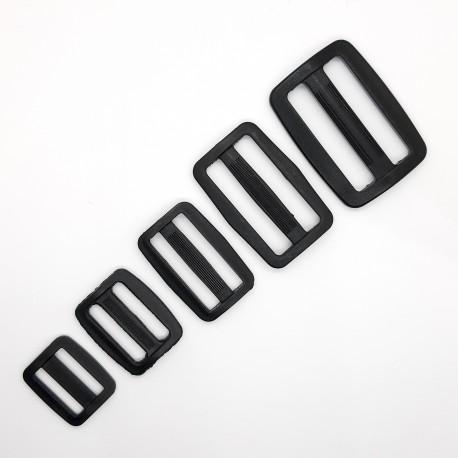 Regulador hebilla o pasador negro de plástico. Ideal para mochilas, bolsos, macutos, riñoneras,.. resistente y duradero.