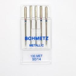 Aguja para máquina Metallic Schmetz. Aguja de talón plano con ojo largo de 2 mm. Especial para hilo metálico.