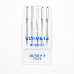 Aguja máquina Stretch Schmetz Nº75 con talón plano para evitar puntadas en falso