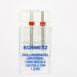 Aguja máquina doble universal Nº1.60/80 Schmetz. Aguja gemela para coser a máquina de talón plano.