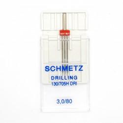 Aguja máquina triple universal Schmetz Nº3.0/80. Aguja trilliza de talón plano.