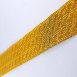 Galón pasamanería metalizada de 3 cms y color dorado. Pieza para múltiples proyectos decorativos.