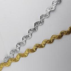 Cinta ondulina metalizada brillante de 1 cm