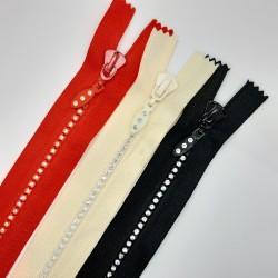 Cremallera fantasía strass de 50 cms cerrada con dientes brillantes original y elegante especial faldas, vestidos, bolsos,..