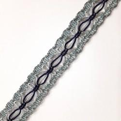 Galón pasamanería metalizado 2,5 cms decorativo combinado con color negro y gris. Pieza para infinidad de proyectos.