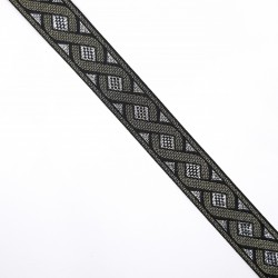 Galón tapacosturas metalizado de 2 cms con cenefas decorativas. Ideal para cubrir costuras o alargar prendas.