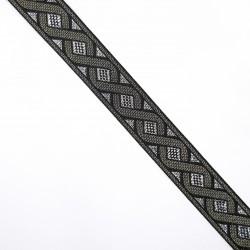 Galón tapacosturas metalizado de 2 cms con cenefas decorativas
