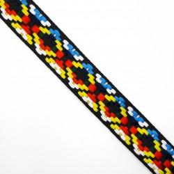 Galón tapacosturas étnico multicolor de 2,5 cms. Cubrecosturas original para tus prendas y complementos.
