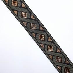 Tapacosturas metalizado con fondo color cobre y ondas decorativas 3,5 cms. Cubrecosturas para infinidad de proyectos decorativos