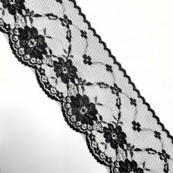 Encaje nylon de color negro con flores decorativas de 9 cms. Adorno ideal para customizar tus prendas y complementos.