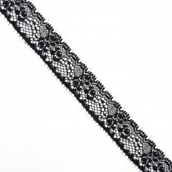 Encaje nylon negro de 2 cms con flores decorativas. Adorno elegante para prendas y complementos de ceremonias.