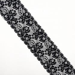 Encaje entredos nylon negro de 4 cms con flores decorativas