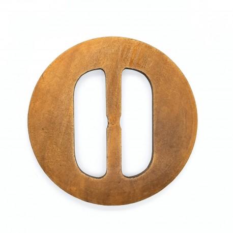 Hebilla de madera natural redonda de 5 cms. Accesorio sencillo especial para cinturón.