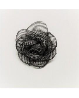 Flor gris organza de red. Adorno decorativo, especial para complementos de novias y ceremonias
