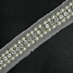 Galón pasamanería de perlas y pedrería strass 2 cms.