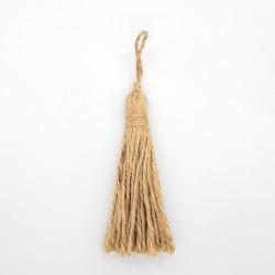 Borla de yute saco 7 cms color natural.
