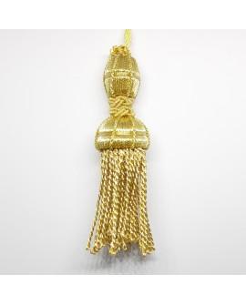 Borla fleco metalizada dorada brillante. Ideal para cofradías y actos religiosos. Adorno clásico y elegante.