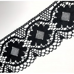 Encaje de bolillo flor 10 cms color negro