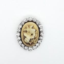 Broche camafeo flor imperdible con piedras Strass