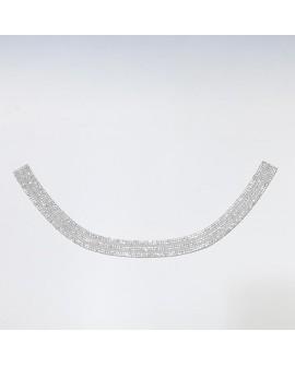Aplique strass cuello adhesivo con piedras brillantes blanco