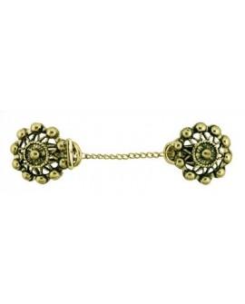 Cierre cadena pinzas de color oro viejo. Diseño clásico y elegante. Ideal para dar anchos a tus prendas.
