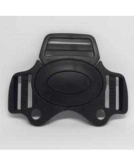 Cierre broche de plástico negro con 3 cintas. Ideal para arneses infantil, tronas, sillitas,... resistente y duradero.
