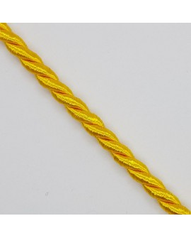 Cordón seda suave trenzado decorativo amarillo