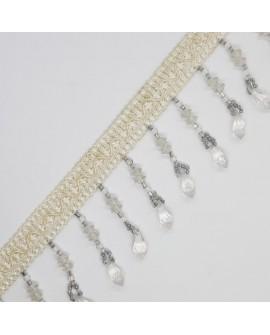 Fleco fantasía de 5 cms con piedras de cristal brillante. Adorno decorativo para prendas y complementos